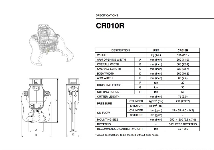 CR010R Specification