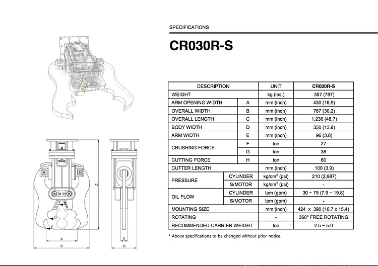 CR030R-S Specification