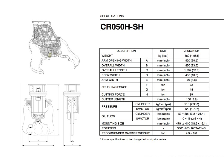 CR050H-SH Specification