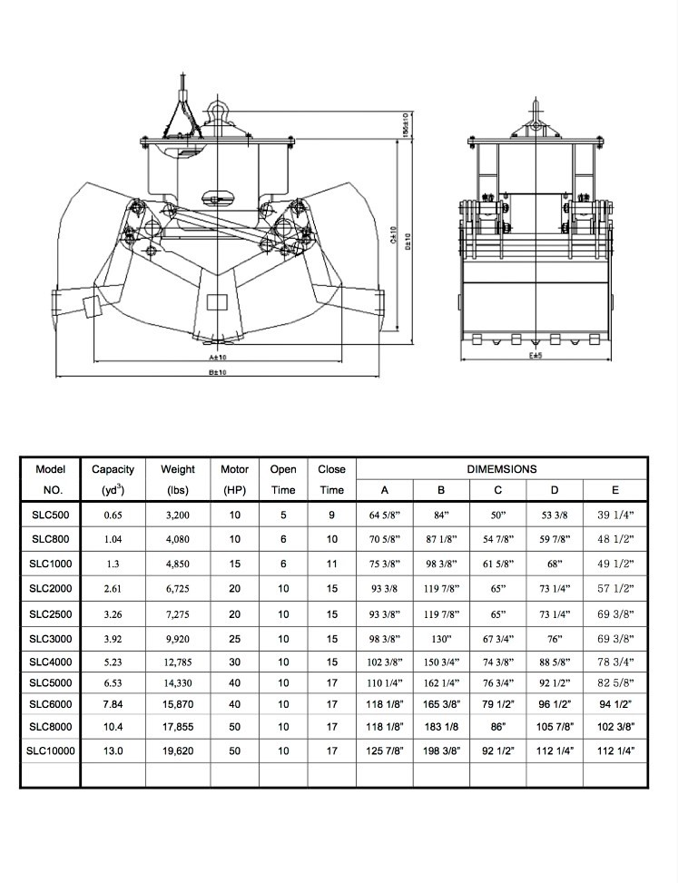 Self-Load Clamshell Bucket Specification