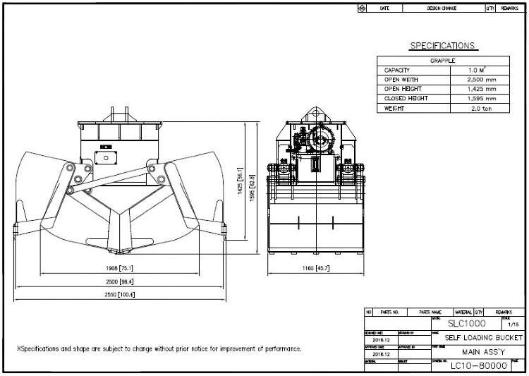 Self-Load Clamshell Bucket SLC1000 Drawing