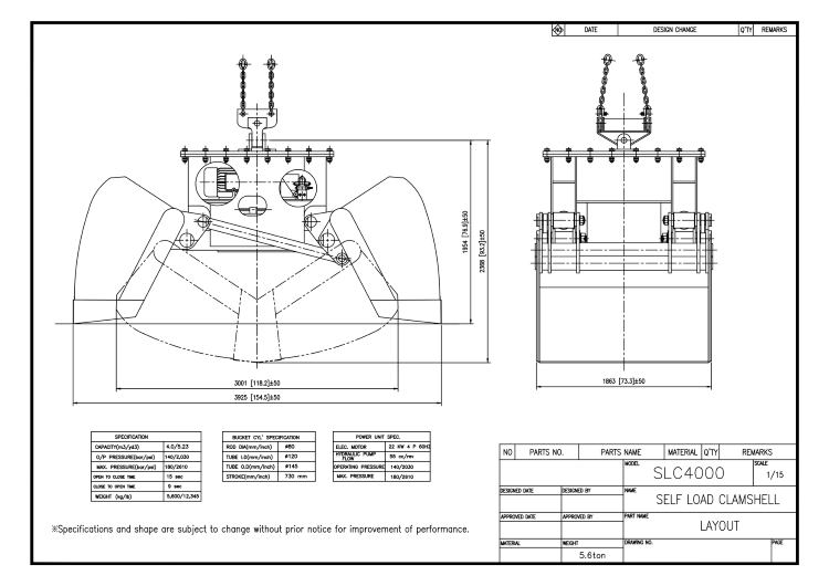 Self-Load Clamshell Bucket SLC4000 Drawing