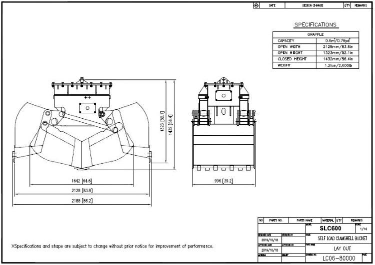 Self-Load Clamshell Bucket SLC600 Drawing