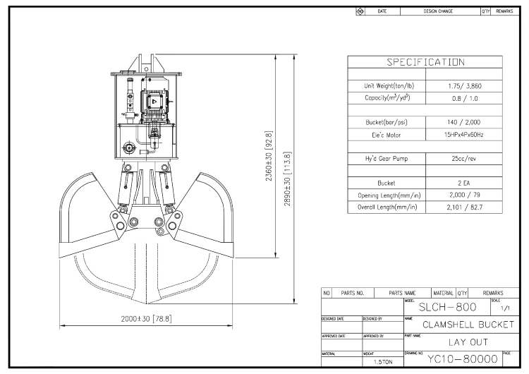 Self-Load Clamshell Bucket SLCH800 Drawing