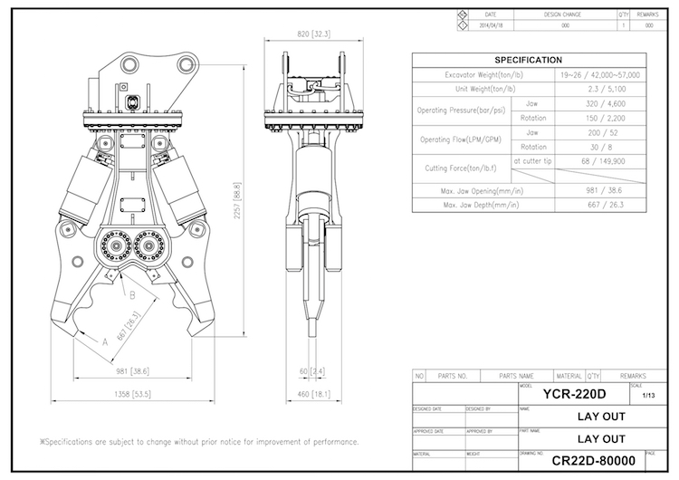 YCR 220 Drawing