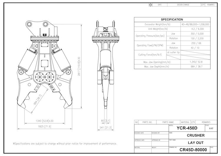 YCR 450 Drawing