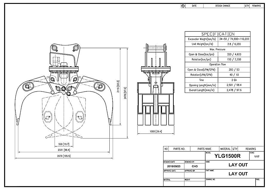 YLG1500R Grapple Drawing