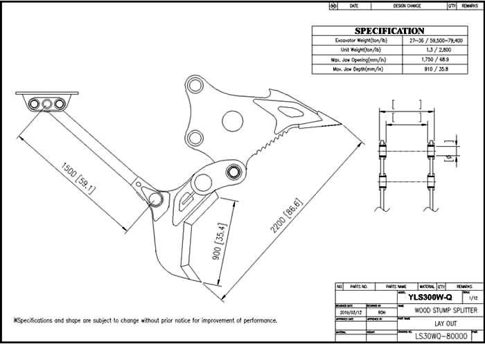 YLS300W-Q Shear Drawing