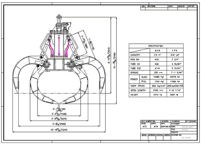 YM2000 3 Cu Yd 5-Tine Drawing