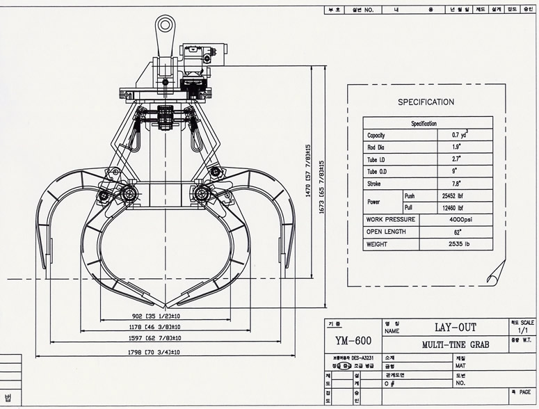 YM600 Grapple Drawing