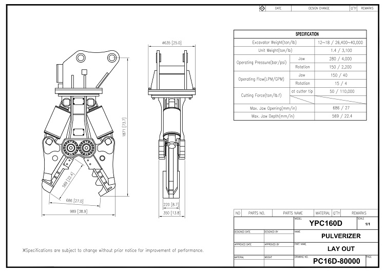Hydraulic Crusher YPC-160D Drawing