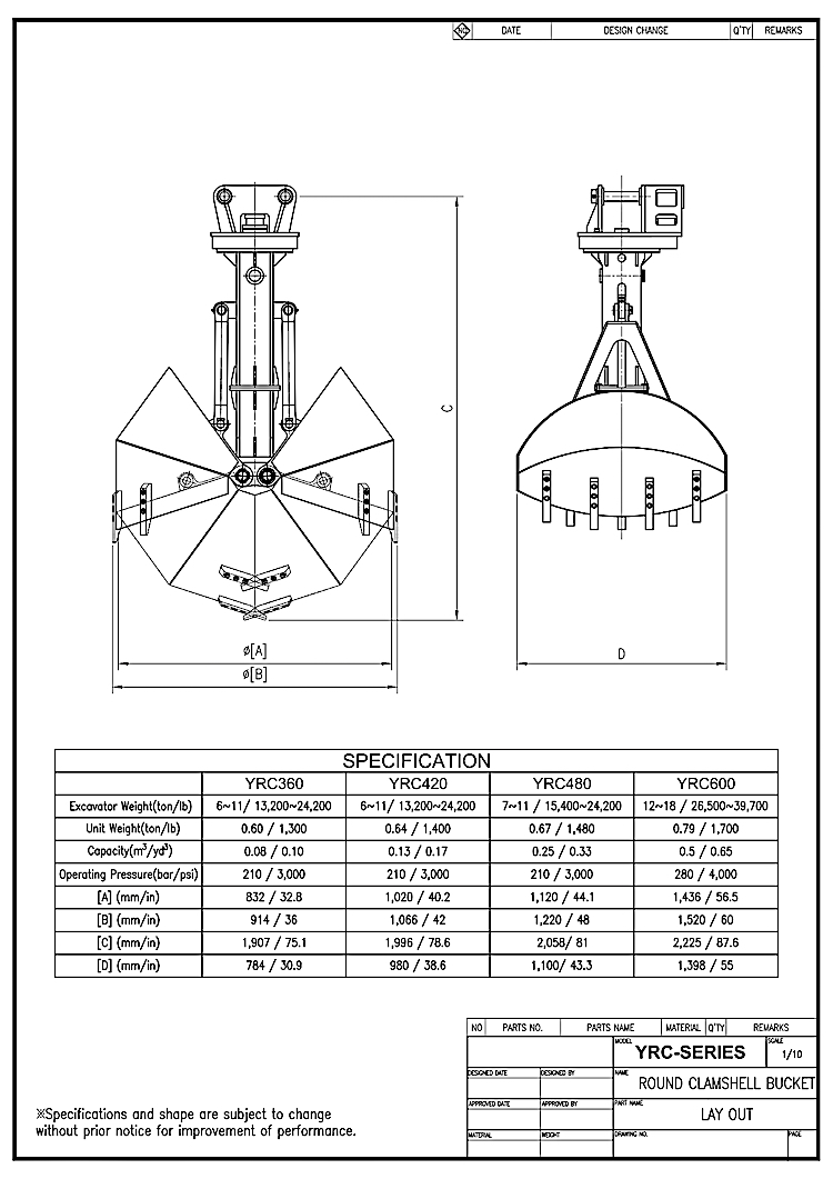 Round Hydraulic Clamshell Bucket Drawing