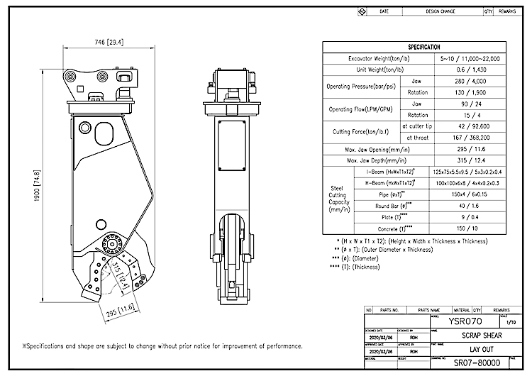 YSR 070 - Specification